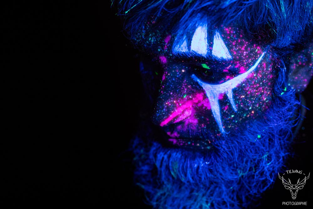 black light body painting viking